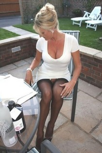 Hot g-string pussy photo with a fabulous blonde big boobs.