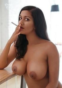 Horny Nude Wife Smoking.
