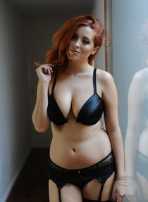 Black lingeries, redhead chick