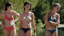 Cortney Palm and Lexi Atkins topless in Zombeavers