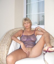Blonde wife spreading legs and showing pussy