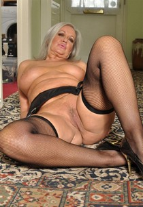 Sexy old woman in the black stockings