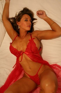 Hot mature in hot red lingerie.