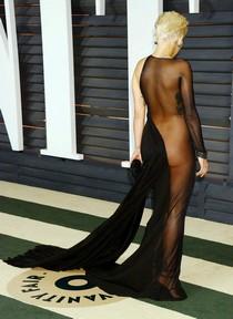 Rita Ora in transparent dress