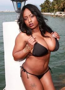 Jada Fire posing in the bikini outdoor