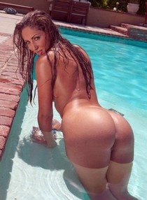 Horny french milf showing her big nasty nude butt and wet shave pussy in the pool