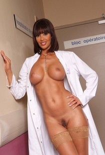 Brunette perverse milf nurse naked with big huge boobs hot fit body and adorable milf..