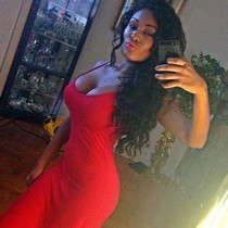 Hot homemade amateur busty ebony selfshot in sexy red dress