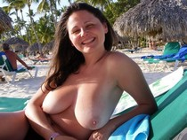 Wife With Massive Torpedos Topless On Beach