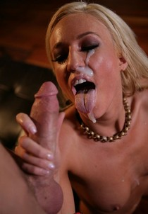 Fabulous blonde mature in awesome bj creampie photo.