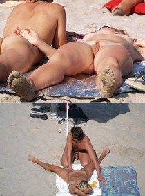 Nice married couple caught having fun on the beach