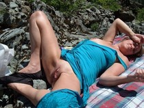 Pure mature horny blonde nudist on the beach have big natural boobs hot butt and big..