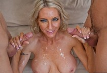 Blonde mature lady takes some jizz.